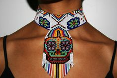 Mexican Sugar Skull Choker Necklace, Sugar Skull Beaded Choker, Day of the Dead Choker Ethnic Sugar Skull Necklace, Native American Choker Beaded Skull, Beaded Choker, Beaded Jewelry, Beaded Bracelets, Jewellery, Skull Necklace, Seed Bead Necklace, Tribal Necklace, Necklace Tattoo