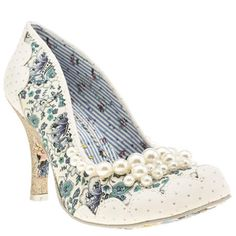 Summer. Pearl embellishment; floral print and glitter; these heels from Irregular Choice have it all. The Pearly Girly Floral arrives in a printed fabric upper, with scalloped faux-suede overlay adorned with polka-dot detailing. A glittery 10cm heel finishes.