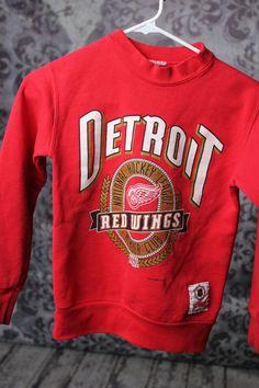 Vintage Detroit Redwings Sweatshirt child by VintageVanShop 9e80c053f