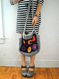 Hand Crocheted Granny Square Bohemian Hippie Chic Bag/Purse Cotton Large