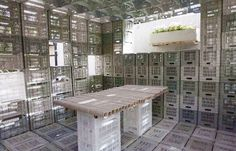 Plastic crates, commonly used in agriculture, were used as building blocks that can perform both as strong structural support and storage space.