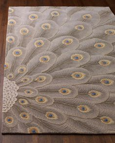"""""""Peacock Bursts"""" Rug - Horchow Spare Room, Hand Knotted Rugs, Woven Rug, Hallway Carpet Runners, Living Room Carpet, Weave, Neiman Marcus, Area Rugs, Home Furnishings"""
