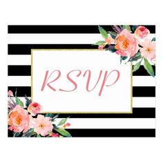 Black White Stripes Floral Gold Wedding RSVP Reply Postcard
