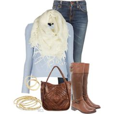 """Light blue, brown and gold"" by mclaires on Polyvore"