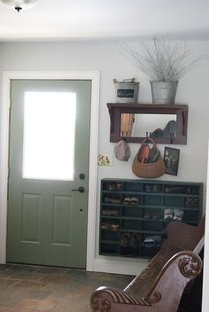 For wall facing garage door. Shoes and mirror with hooks. Diy Shoe Rack, Shoe Storage, Storage Ideas, Shoe Cubby, Shoe Box, Organization Ideas, Small Space Living, Small Spaces, Mudroom