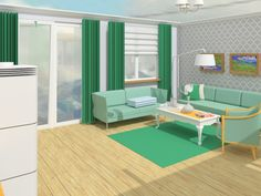 green livingroom, interior design