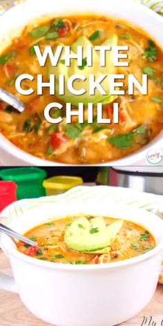 , Healthy and Creamy White Chicken Chili with Greek Yogurt can be made in the crockpot, Instant Pot, or on the stove! If you're looking for an easy clea. , Healthy and Creamy White Chicken Chili with Greek Yogurt can be made in the croc. Clean Eating Soup, Clean Eating Recipes For Dinner, Clean Eating Snacks, Pastas Recipes, Soup Recipes, Keto Recipes, Cheap Recipes, Vegetarian Recipes, Recipies