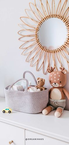 A stylish cotton rope basket design meant to help parents stay more organized this baby diaper caddy organizer is ideal for storing diapers, items, wipes, fresh clothes, cute toys, dirty laundry, extra bottles, and all the accessories kids need. Diaper Caddy, Rope Basket, Cute Toys, Nursery Inspiration, Cotton Rope, Diapers, Baby Room, Nursery Decor, Parents