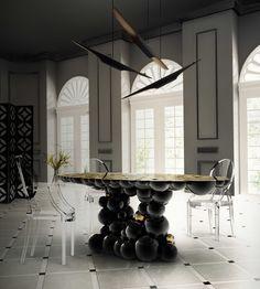 NEWTON DINING TABLE By Boca do Lobo | www.bocadolobo.com #luxuryfurniture #interiordesign #inspirations #homedecorideas #exclusivedesign ##contemporarydiningroom #diningtable #newton