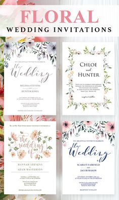 Floral weddings are one of the most romantic wedding themes. Our beautiful floral wedding invitation templates will enhance that feeling and willmake your wedding guests swoon by the idea that you are getting married! // Floral wedding invitations // Watercolor Flowers Wedding // Purple Wedding Invitations // DIY Wedding // Wedding Stationary Printables // #diywedding #weddinginvites #floralwedding #weddingflowers #romanticwedding #blushwedding #pinkwedding #purplewedding