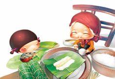 Nguyen Thanh Nhan_Illustrations Of Chibi Style Children's Book Illustration, Food Illustrations, Dumpling Festival, Dragon Boat Festival, Popular Cartoons, Cute Monsters, Cute Art, Storyboard, Art For Kids