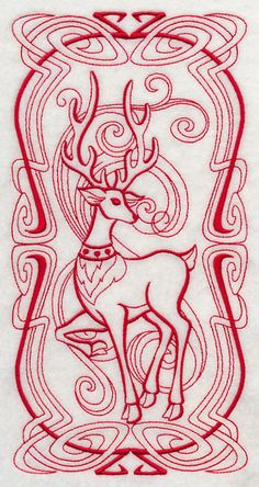 Art Nouveau Reindeer (Redwork) design (J4229) from www.Emblibrary.com