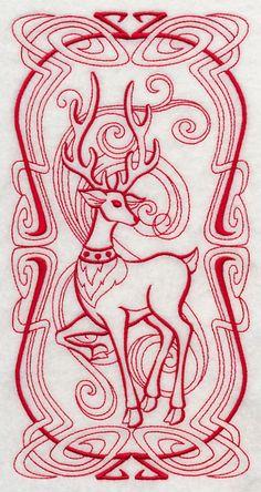 Art Nouveau Reindeer (Redwork) design (J4229) from www.Emblibrary.com