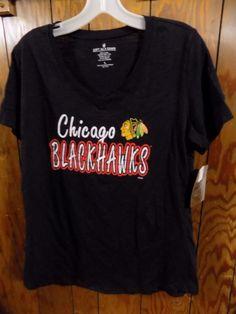 New Womens CHICAGO BLACKHAWKS Sports Shirt Top Black Cotton NHL Size Large L NWT #SoftasaGrape #ChicagoBlackhawks