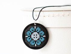 DIY Cross Stitch Jewelry Kit - Black Acrylic Pendant with Blue Flower Pattern