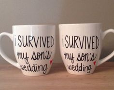 I survived my son's wedding, I survived my daughter's wedding,parents of groom gift, parents of the bride gift, bridal party gift, funny mug