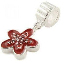 Pandora Sterling Silver Red Five-pointed Star Flower Dangle charms