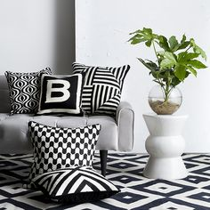 Jonathan Adler handmade bargello style pillows with edgy graphics in puchy black and white.
