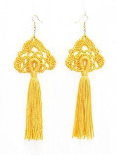 Tassel earrings Crochet jewelry Long dangling earrings Yellow Yellow Tassel Earrings, Green Earrings, White Earrings, Boho Earrings, Crochet Earrings, Diy Crochet, Crochet Hooks, Crochet Stitches, Diy Tassel