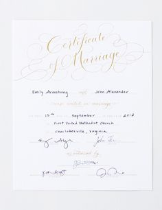 Marriage Certificate Gold