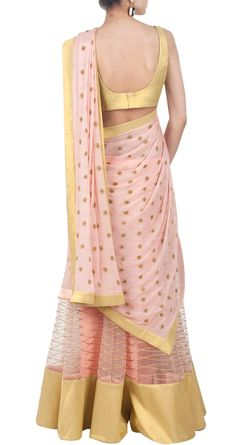 half saree - stripes and polka dots Indian Wedding Outfits, Pakistani Outfits, Indian Outfits, Indian Clothes, Indian Attire, Indian Wear, Indian Lehenga, Gold Lehenga, Indian Costumes