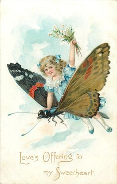 LOVE'S OFFERING TO MY SWEETHEART  girl sits on exaggerated butterfly, flying left, she holds daisies in left hand