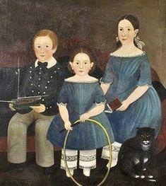 19C American Women: 19C American Folk Art - Attributed to Sturtevant J Hamblin 1817-1884 (Prior-Hamblin School)
