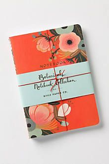 Botanicals Notebook Collection by Rifle Paper Company (from Anthropologie). I bought this set on clearance at Target a few years ago. Love the gold lettering on the front of each notebook and the 3 different designs!