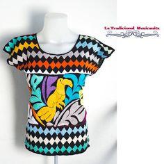 Oaxacan Blouse Hand embroidery Materials: Cotton & Rayon Size: Bust= 40 Waist=40 From shoulder to bottom = 25 / Blusa Oaxaqueña Bordada a mano Materiales: Algodón y Rayón Medidas: Busto= 40 Cintura y cadera=40 Largo (desde el hombro) = 25