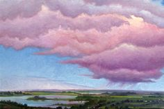 """Ankhanel"" by Jerry Moon Fine Art-Oil-Landscape-Painting-Kansas City, Missouri-Midwest-Sky-Clouds-Storm-Pink-Blue-Water-Rain"