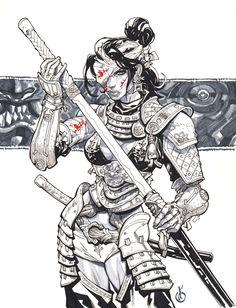 Samurai Girl, Ronin Samurai, Samurai Warrior, Female Samurai Tattoo, Samurai Drawing, Samurai Artwork, Art And Illustration, Japanese Tattoo Art, Japanese Art