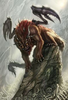 The manticore is a Persian legendary creature similar to the Egyptian sphinx. It has the body of a red lion, a human head with three rows of sharp teeth (like a shark), sometimes bat wings, and a trumpet-like voice. Other aspects of the creature vary from story to story. It may be horned, winged, or both. The tail is that of either a dragon or a scorpion, and it may shoot poisonous spines to either paralyze or kill its victims.