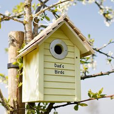 This wooden nesting box is painted in a smart pastel yellow with a real shingle roof and a lapped weatherboard appearance. Definitely a smart addition to both country and urban gardens.   It makes a lovely gift for both children and adults alike. You can personalise it with words of your choice to make it that bit more special. Located near a kitchen window it provides endless fascination as you watch the birds move into their new home.   Each Personalised Bird Box has a metal hole protector…