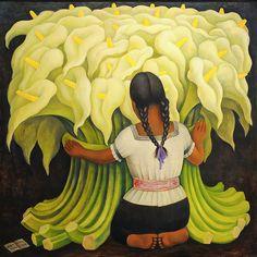 """""""Vendedora de Flores.""""  Autor: Diego Rivera. Fecha: 1941. Ubicación: Norton Simon Museum, Pasadena, California."""