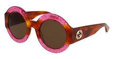 Gucci 0084 0084S 003 Fuchsia Havana Brown Glitter Sunglasses >>> Amazon most trusted e-retailer #Sunglasses50Off