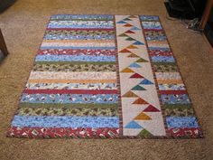 Quilting Ideas Minnesota Skies: Simple and fast for either QOV or Project Linus. For QOV could change strip of Flying Geese to strip of Stars. Jellyroll Quilts, Scrappy Quilts, Mini Quilts, Strip Quilts, Boy Quilts, Quilt Blocks, Baby Quilts For Boys, Quilt Kits, Quilting Tutorials