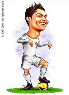 Ronaldo Football, Cristiano Ronaldo Cr7, Football Art, Funny Caricatures, Celebrity Caricatures, Cartoon Drawings, Cartoon Art, Cristiano Ronaldo Manchester, Face Drawing Reference