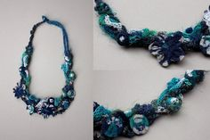 Knitted statement necklace with bamboo and textile por rRradionica