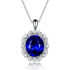 Classic 18.25ct Natural Blue Tanzanite in 18K Gold Pendant by CHARMES Jewellery