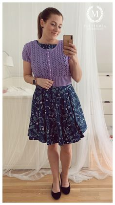#FletteMia • Blue Floral Dress: #ClosetLondon • Lavender Bolero: Knitted from pattern buy #Garnstudio #DropsDesign •  Dark Blue Flats: #MarksAndSpencer Putting Outfits Together, Colorful Cakes, Blue Flats, Drops Design, My Wardrobe, Dark Blue, Midi Skirt, Lavender, Tulle