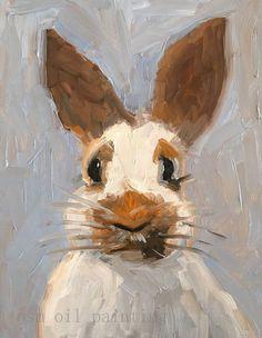 Handgemalte Moderne Tier Funny Bunny Kalligraphie Öl Bild Handgemachtes Kaninchen Kunst Ölgemälde auf Leinwand für Hauptdekoratives