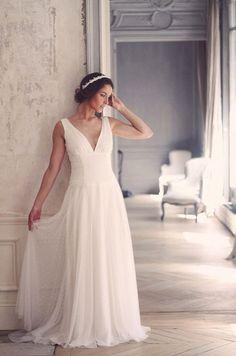Robe de mariée en mousseline, tulle et plumetis, Marie Laporte