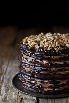 Armenian Layer Cake {Tort Ormiański} 8 layers of moist honey cake and coffee cream, drenched with chocolate ganache. (translate)