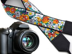 Flowers Camera strap. Orange roses camera straps. SLR Camera Strap. Camera accessory by InTePro code 00194 -- Visit the image link more details.
