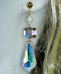 Raindrops Clearing Swarovski Crystal Earrings by paulastonebuckner, $32.00