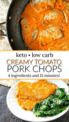 Easy Keto Creamy Tomato Pork Chops - a delicious and quick dinner option. You only need 4 ingredients and 15 minutes to have dinner on the table. Only has net carbs per chop so have Healthy Low Carb Dinners, Low Carb Dinner Recipes, Rib Recipes, Pork Chop Recipes, Keto Dinner, Quick Meals, Lunch Recipes, Oven Recipes, Carrot Recipes