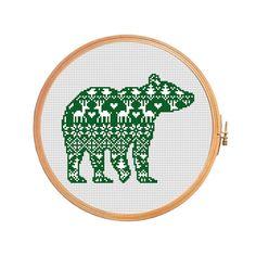 Christmas bear nordic pattern cross stitch by PatternsCrossStitch