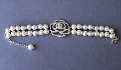 Bridal Pearl Rhinestone Bracelet Double Strand Rose by LXdesigns, $45.00