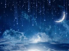 Sky+Bright+Stars+Moon+Night