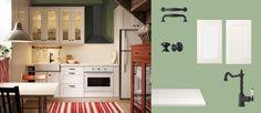 AKURUM kitchen with RAMSJÖ white doors/drawers/glass-doors, PRÄGEL white countertop and FÅGLAVIK black knobs/handles